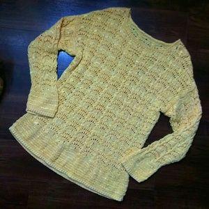 Sweaters - Long yellow crochet sweater